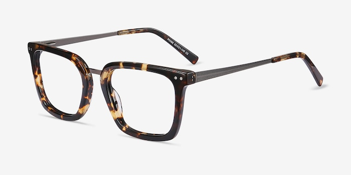 Poise Tortoise Acetate-metal Eyeglass Frames from EyeBuyDirect, Angle View