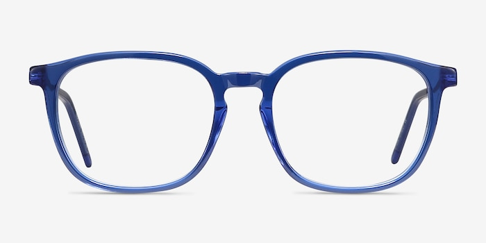 Esquire Blue Acetate-metal Eyeglass Frames from EyeBuyDirect, Front View