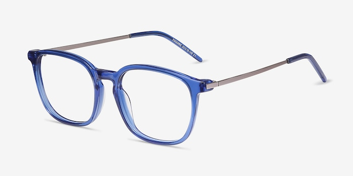 Esquire Blue Acetate Eyeglass Frames from EyeBuyDirect, Angle View