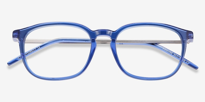 Esquire Blue Acetate Eyeglass Frames from EyeBuyDirect, Closed View