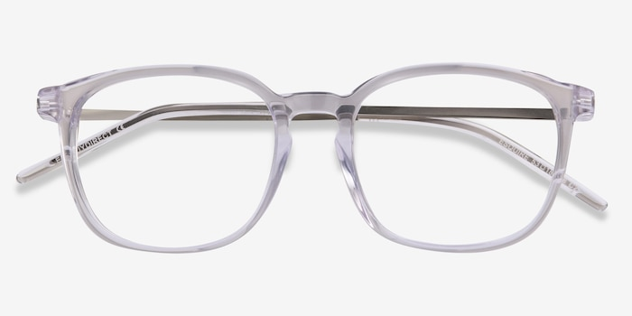 Esquire Clear Metal Eyeglass Frames from EyeBuyDirect, Closed View