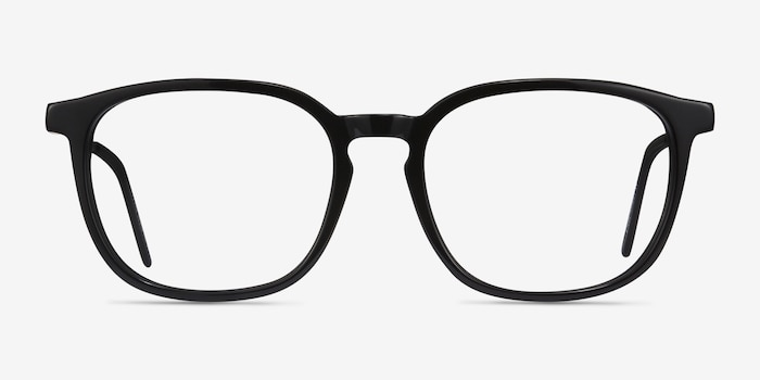 Esquire Black Acetate Eyeglass Frames from EyeBuyDirect, Front View