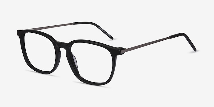 Esquire Black Acetate Eyeglass Frames from EyeBuyDirect, Angle View