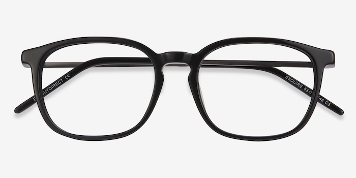 Esquire Black Metal Eyeglass Frames from EyeBuyDirect, Closed View
