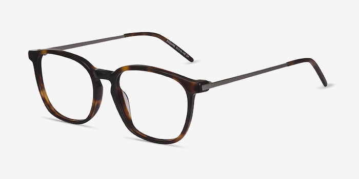 Esquire Tortoise Metal Eyeglass Frames from EyeBuyDirect, Angle View