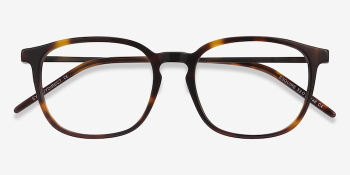 Esquire Tortoise Metal Eyeglass Frames from EyeBuyDirect, Closed View