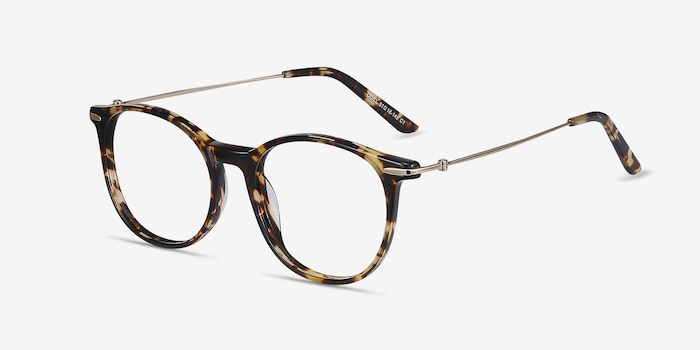 Quill Tortoise Acetate-metal Eyeglass Frames from EyeBuyDirect, Angle View