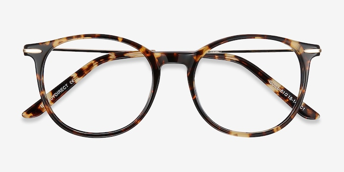Quill Tortoise Acetate Eyeglass Frames from EyeBuyDirect, Closed View