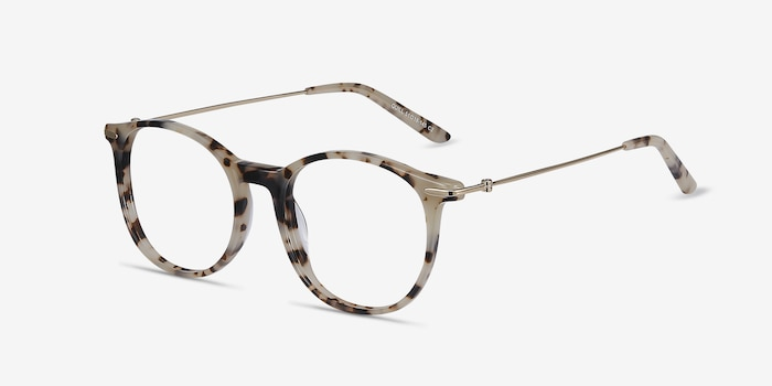Quill Ivory Tortoise Acetate-metal Eyeglass Frames from EyeBuyDirect, Angle View