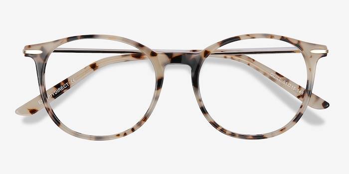 Quill Ivory Tortoise Metal Eyeglass Frames from EyeBuyDirect, Closed View