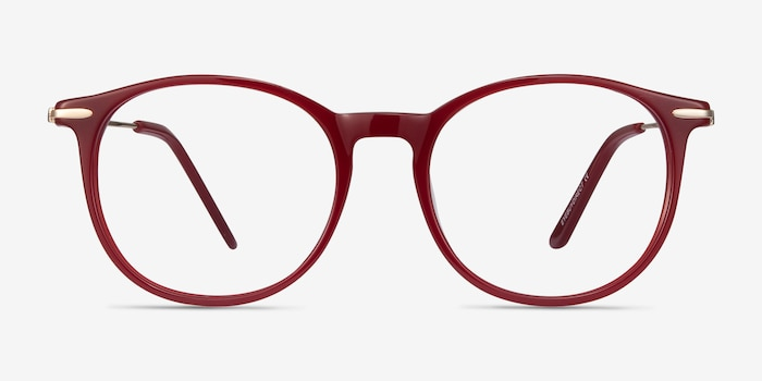 Quill Red Metal Eyeglass Frames from EyeBuyDirect, Front View