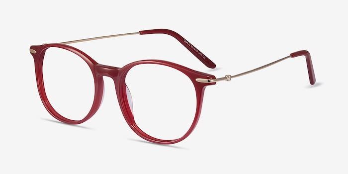 Quill Red Metal Eyeglass Frames from EyeBuyDirect, Angle View