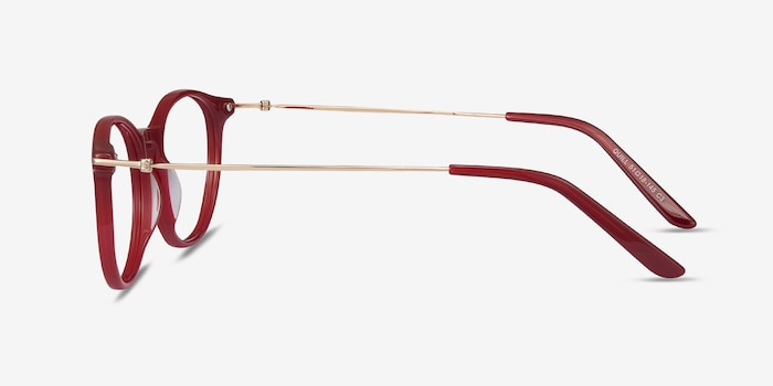 Quill Red Metal Eyeglass Frames from EyeBuyDirect, Side View
