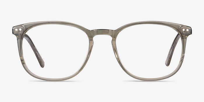Savvy Clear Gray Metal Eyeglass Frames from EyeBuyDirect, Front View