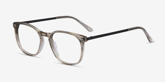 Savvy Clear Gray Metal Eyeglass Frames from EyeBuyDirect, Angle View