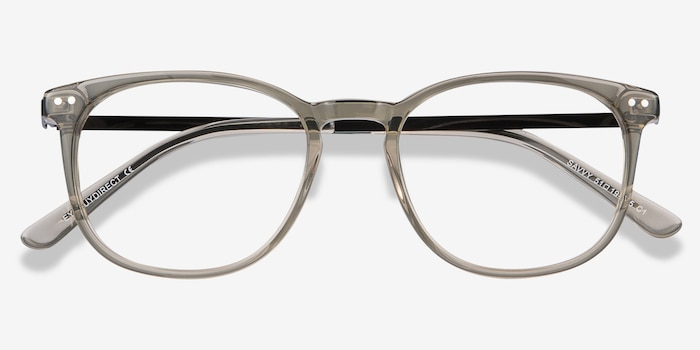 Savvy Clear Gray Metal Eyeglass Frames from EyeBuyDirect, Closed View