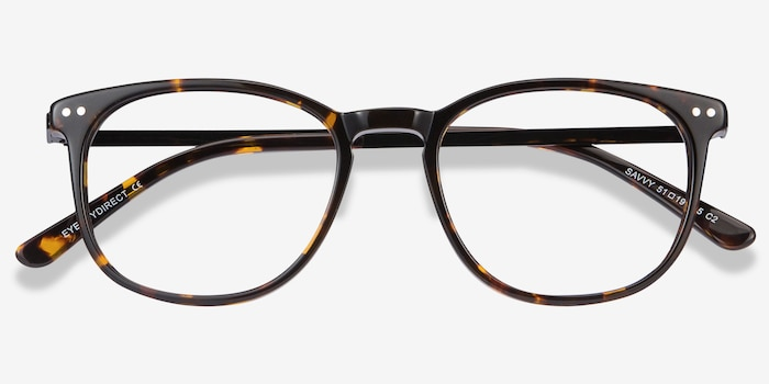 Savvy Tortoise Acetate Eyeglass Frames from EyeBuyDirect, Closed View