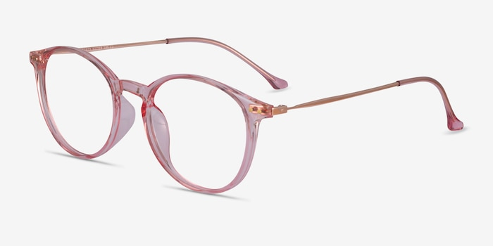 Amity Rose Gold Metal Eyeglass Frames from EyeBuyDirect, Angle View