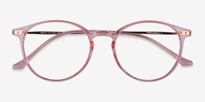 Amity Rose Gold Metal Eyeglass Frames from EyeBuyDirect, Closed View