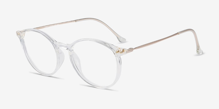 Amity Clear Metal Eyeglass Frames from EyeBuyDirect, Angle View