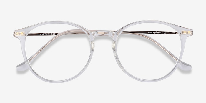 Amity Clear Metal Eyeglass Frames from EyeBuyDirect, Closed View