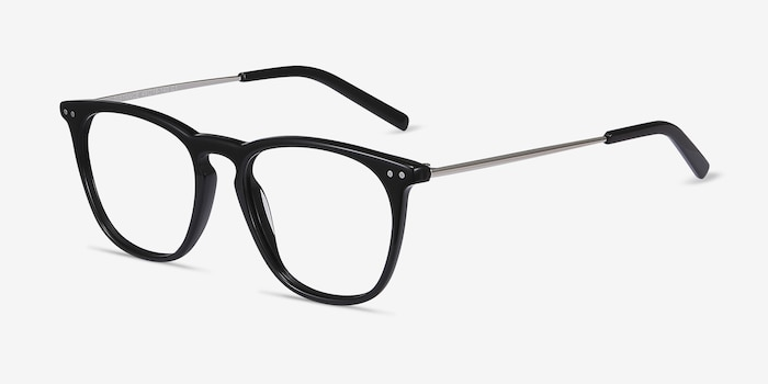 Distance Black Acetate Eyeglass Frames from EyeBuyDirect, Angle View