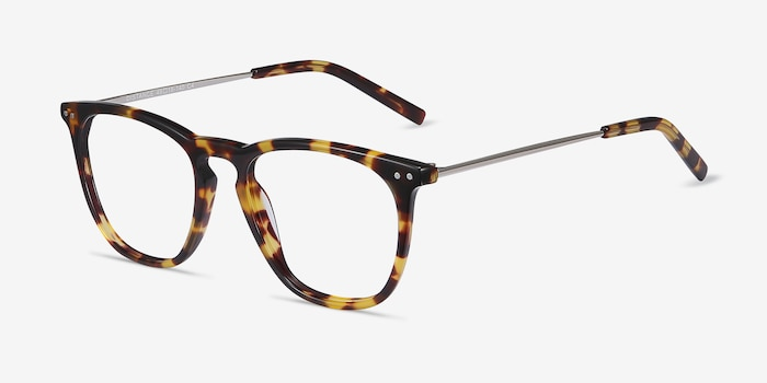 Distance Tortoise Metal Eyeglass Frames from EyeBuyDirect, Angle View