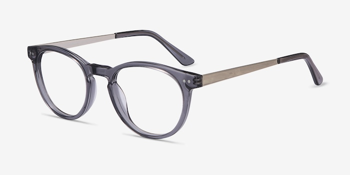 Traveller Gray Acetate Eyeglass Frames from EyeBuyDirect, Angle View