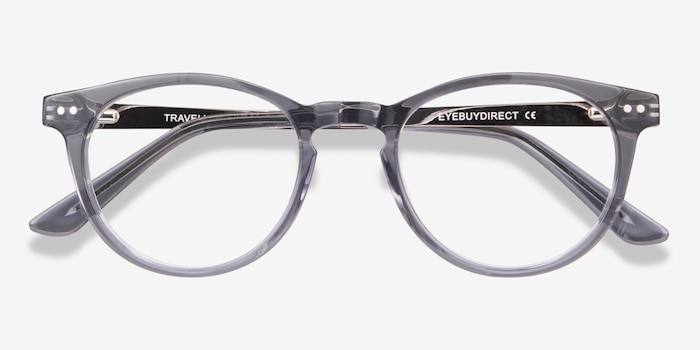 Traveller Gray Acetate Eyeglass Frames from EyeBuyDirect, Closed View