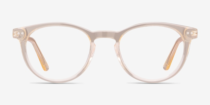 Traveller Clear Melon Acetate Eyeglass Frames from EyeBuyDirect, Front View