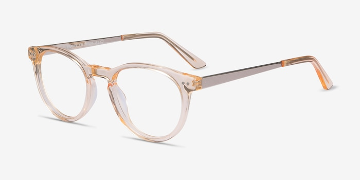 Traveller Clear Melon Acetate Eyeglass Frames from EyeBuyDirect, Angle View