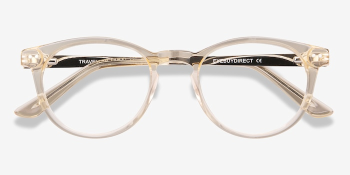 Traveller Clear Melon Acetate Eyeglass Frames from EyeBuyDirect, Closed View
