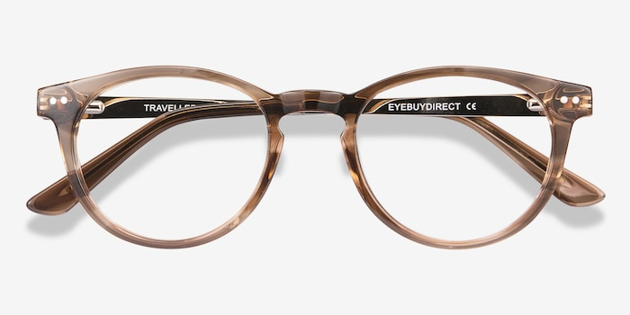 Traveller Brown Striped Acetate Eyeglass Frames from EyeBuyDirect, Closed View