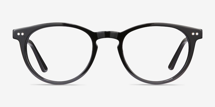 Traveller Black Acetate Eyeglass Frames from EyeBuyDirect, Front View