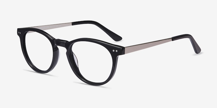 Traveller Black Acetate Eyeglass Frames from EyeBuyDirect, Angle View