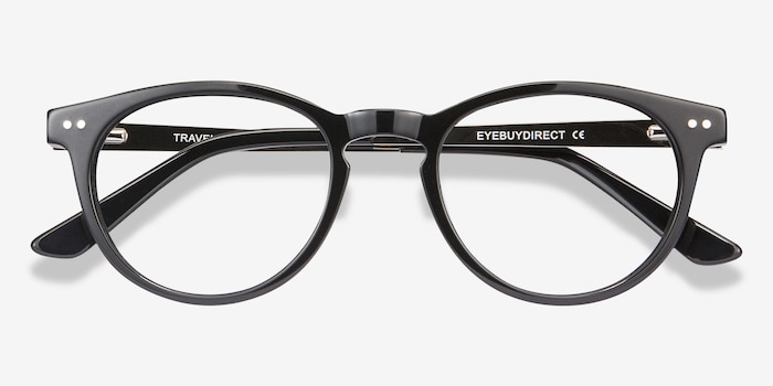 Traveller Black Acetate Eyeglass Frames from EyeBuyDirect, Closed View