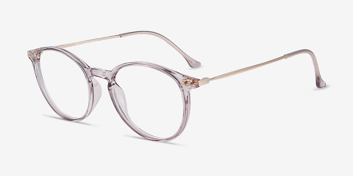 Amity Purple Metal Eyeglass Frames from EyeBuyDirect, Angle View