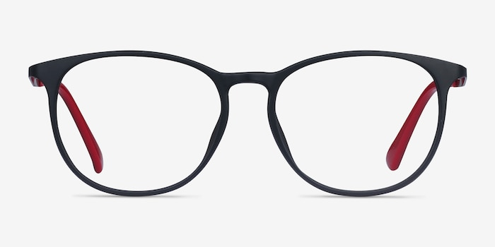 Today Black Metal Eyeglass Frames from EyeBuyDirect, Front View