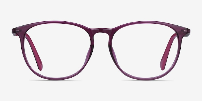 Today Purple Metal Eyeglass Frames from EyeBuyDirect, Front View
