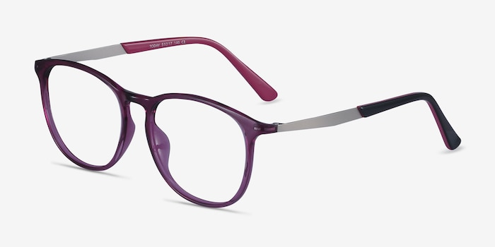 Today Purple Metal Eyeglass Frames from EyeBuyDirect, Angle View
