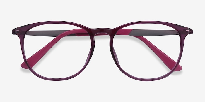 Today Purple Metal Eyeglass Frames from EyeBuyDirect, Closed View