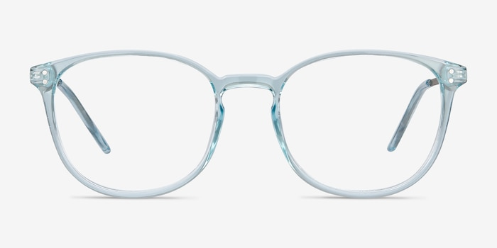 Spoken Clear Blue Metal Eyeglass Frames from EyeBuyDirect, Front View