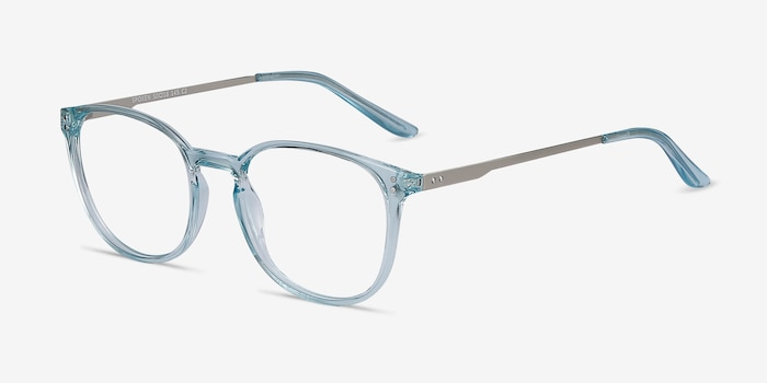 Spoken Clear Blue Metal Eyeglass Frames from EyeBuyDirect, Angle View