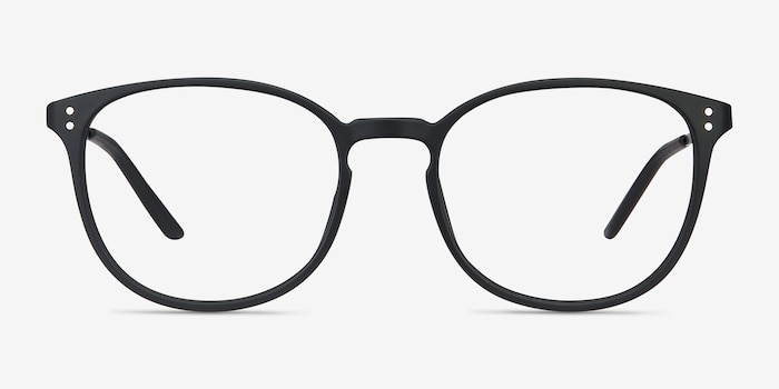 Spoken Black Metal Eyeglass Frames from EyeBuyDirect, Front View