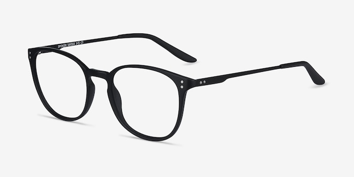 Spoken Black Metal Eyeglass Frames from EyeBuyDirect, Angle View