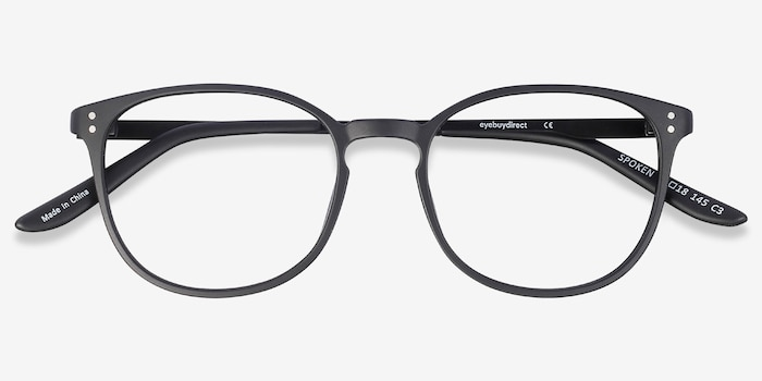 Spoken Black Metal Eyeglass Frames from EyeBuyDirect, Closed View