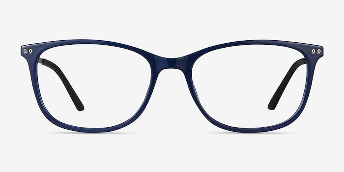 Clarity Blue Metal Eyeglass Frames from EyeBuyDirect, Front View