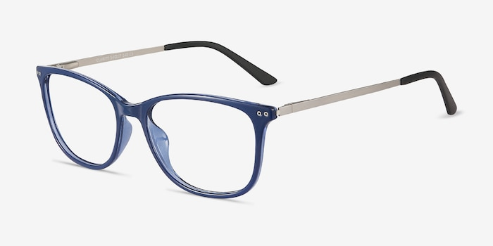 Clarity Blue Metal Eyeglass Frames from EyeBuyDirect, Angle View