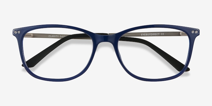 Clarity Blue Metal Eyeglass Frames from EyeBuyDirect, Closed View