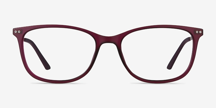 Clarity Purple Metal Eyeglass Frames from EyeBuyDirect, Front View